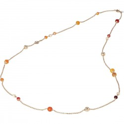 Collana rosata con perle Swarovski peach e agata orange
