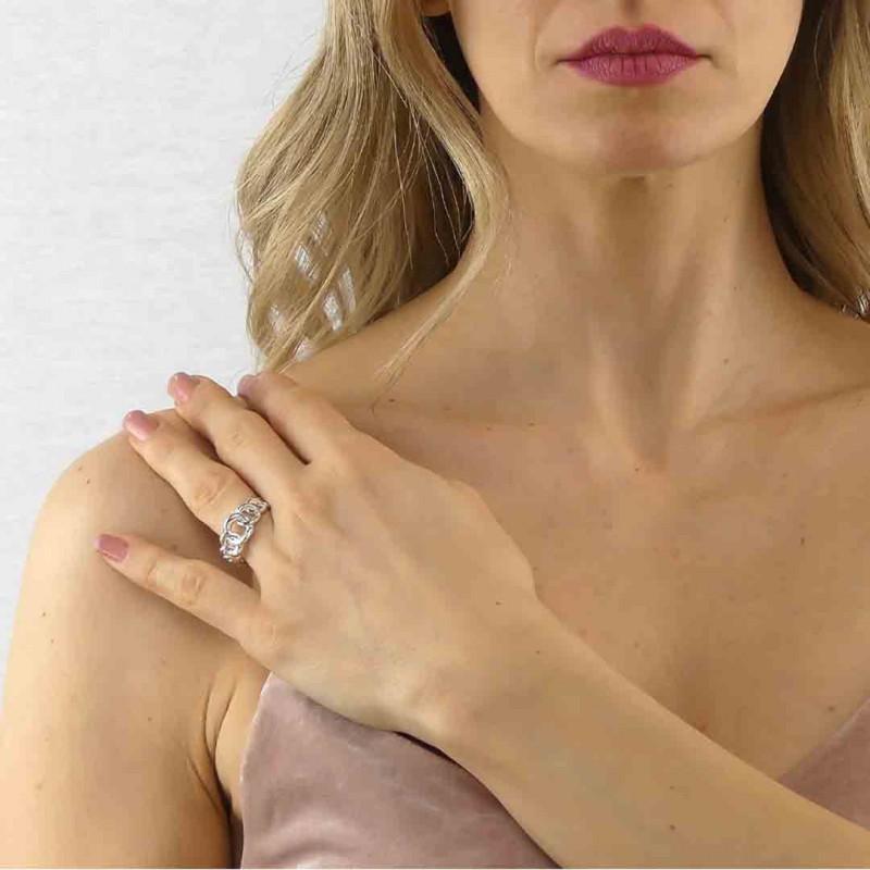 Bracciale in lycra bianco con borchie e cristalli Swarovski